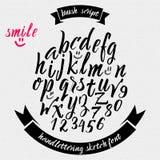 Hand drawn font handwriting brush Royalty Free Stock Photos