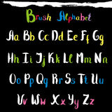Hand drawn font. Handwritten alphabet letters and numbers Stock Photography