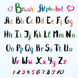 Hand drawn font. Handwritten alphabet letters and numbers Royalty Free Stock Photos