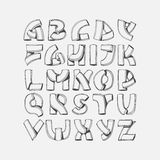 Hand drawn  font, imitation of 3d letters. Abc sequence from A to Z, isolated on background. Alphabet illustration, good for. Lettering, titles, writing Royalty Free Stock Images