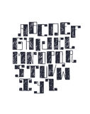 Hand drawn  font with large bold square serif, handwritten with pen and ink. Abc letters sequence in sketch hatch style, iso Stock Photo