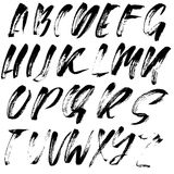 Hand drawn font made by dry brush strokes. Grunge style modern alphabet. Handwritten font. Vector illustration. Hand drawn font made by dry brush strokes Stock Image