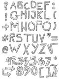 Hand drawn font and numbers Royalty Free Stock Photos