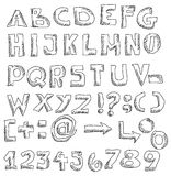 Hand drawn font and numbers Royalty Free Stock Images