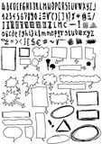 Hand drawn font and numbers, doodles bubble speech Royalty Free Stock Photo