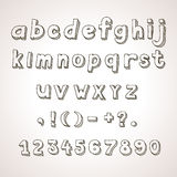 Hand drawn  font,  retro alphabet lowercase and Stock Photo
