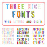 Hand Drawn Font Set. Handwriting Alphabet. ABC with Digits. Vector Stock Photo