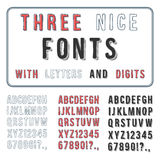 Hand Drawn Font Set. Handwriting Alphabet. ABC with Digits. Vector Stock Images