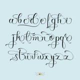 Hand drawn font set. Hand drawn vector calligraphy tattoo style alphabet Stock Photos