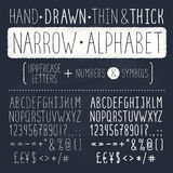 Hand drawn font. Hand drawn tall and narrow alphabet. Uppercase thin letters on chalkboard. Handdrawn typography. Narrow doodle font Royalty Free Stock Photos