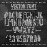 Hand drawn font. Vector chalkboard alphabet Stock Images