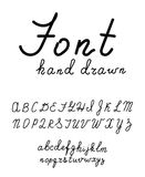 Hand drawn fonts. Handwritten alphabe style modern calligraphy Stock Image