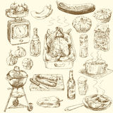 Hand drawn food Royalty Free Stock Images