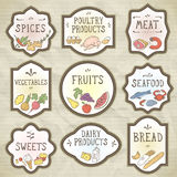Hand Drawn Food Badges Set. Vector illustration, eps10. Royalty Free Stock Image