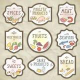 Hand Drawn Food Badges Set. Vector illustration, eps10. Royalty Free Stock Image