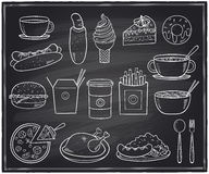 Hand drawn food and drinks graphic symbols on a chalkboard. Stock Images