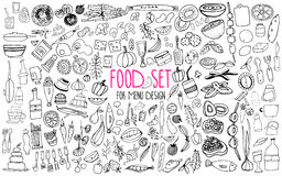 Hand drawn food elements. Set for menu decoration. Cartoon. Simple stylized forms. Stock Photos