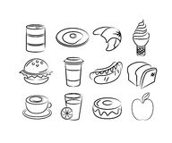 Hand drawn food icons Royalty Free Stock Photos