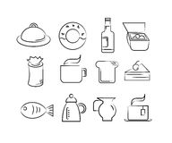 Hand drawn food icons royalty free illustration