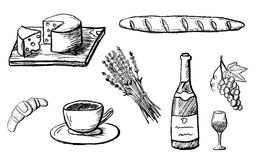 Hand drawn food icons isolated on white stock illustration