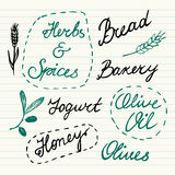 Hand Drawn Food Icons Set Stock Photo