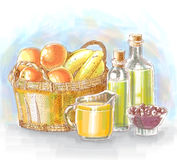 Hand Drawn Food Ingredients Stock Photography
