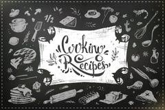 Hand drawn food and kitchen utensils. Chalk design vector illustration