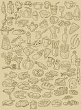Hand drawn food Royalty Free Stock Photography