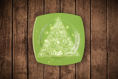 Hand drawn food pyramid on colorful dish plate. And grungy background Royalty Free Stock Image
