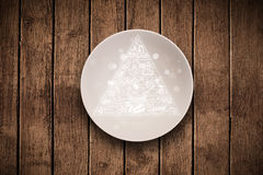 Hand drawn food pyramid on colorful dish plate. And grungy background Stock Image