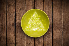 Hand drawn food pyramid on colorful dish plate. And grungy background Royalty Free Stock Photo