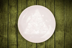 Hand drawn food pyramid on colorful dish plate. And grungy background Stock Images