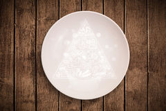 Hand drawn food pyramid on colorful dish plate. And grungy background Stock Photo