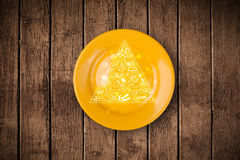 Hand drawn food pyramid on colorful dish plate Stock Photo