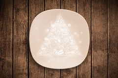 Hand drawn food pyramid on colorful dish plate Royalty Free Stock Photography
