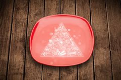 Hand drawn food pyramid on colorful dish plate Stock Image