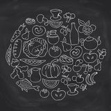 Hand drawn food ring label. Vector sketch chalk board drawing foods icon collection. Fish and cabbage, pumpkin and carrot, pear and tomato illustration Royalty Free Stock Photography