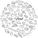 Hand Drawn Food Round Set Royalty Free Stock Images