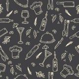 Hand drawn food seamless pattern. Sketch kitchen design elements Stock Image