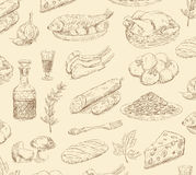 Hand drawn food set Stock Images