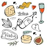 Hand drawn food set Royalty Free Stock Photo