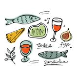 Hand drawn food set Stock Image