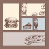 Hand drawn food sketch cards for menu restaurant product and doodle meal cuisine vector illustration. Stock Photography