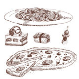 Hand drawn food sketch for menu restaurant product and doodle meal cuisine vector illustration. Stock Photos