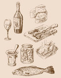 Hand drawn food sketch Stock Images