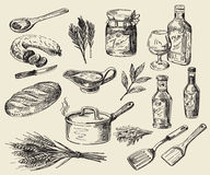 Hand drawn food sketch Royalty Free Stock Images