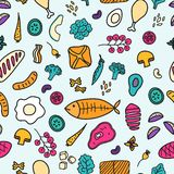 Hand drawn food surface design. Vector seamless pattern background. stock photo