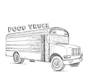 Hand drawn food truck. Delivery service Stock Images