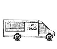 Hand drawn food truck. Stock Image