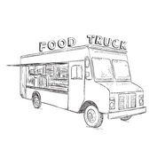Hand drawn food truck. Stock Photos